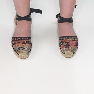 Soludos Shoes - SOLUDOS AZTEC PRINT ANKLE LACE-UP ESPADRILLES